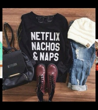 shoes tumblr netflix nachos style hat glasses cute outfit jeans sweater winter outfits