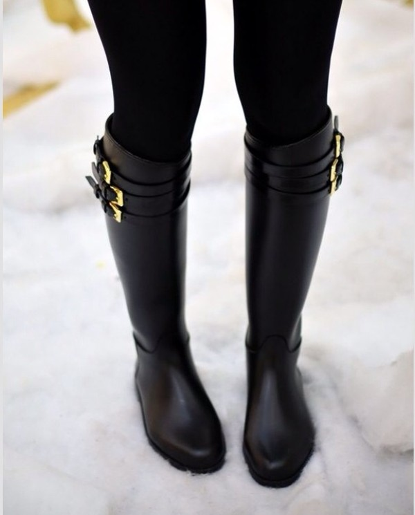 shoes black leather boots