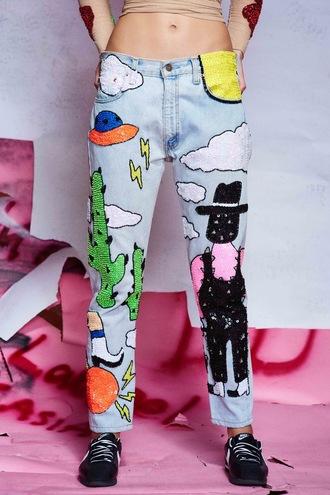 jeans sequins coachella denim embellished denim