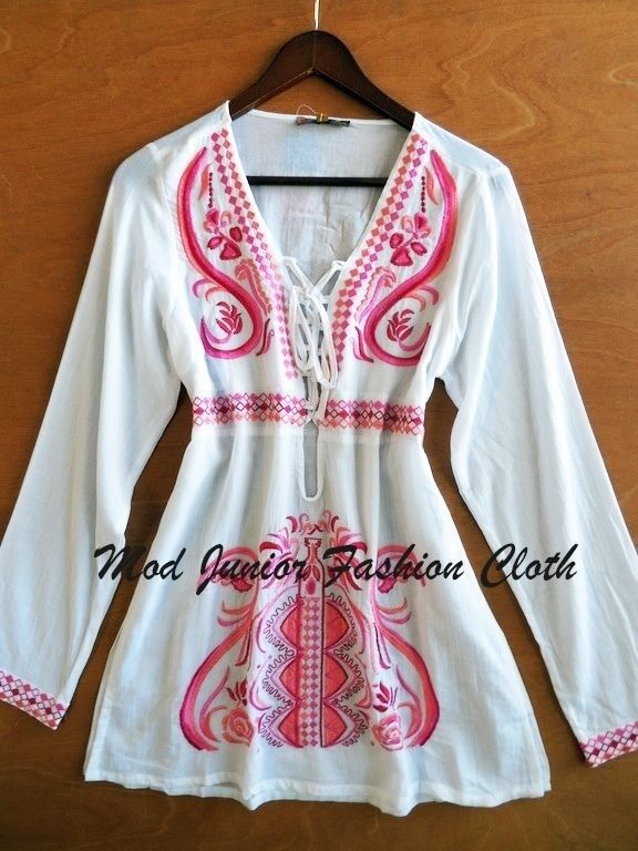 Small Pink White Vintage Boho Embroidered Long Sleeve Laced Up Tunic Cover | eBay