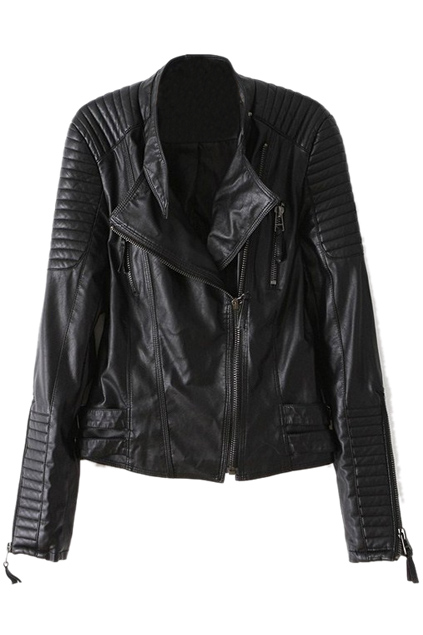 ROMWE | Black Long Sleeve Zipper PU Leather Jacket, The Latest Street Fashion
