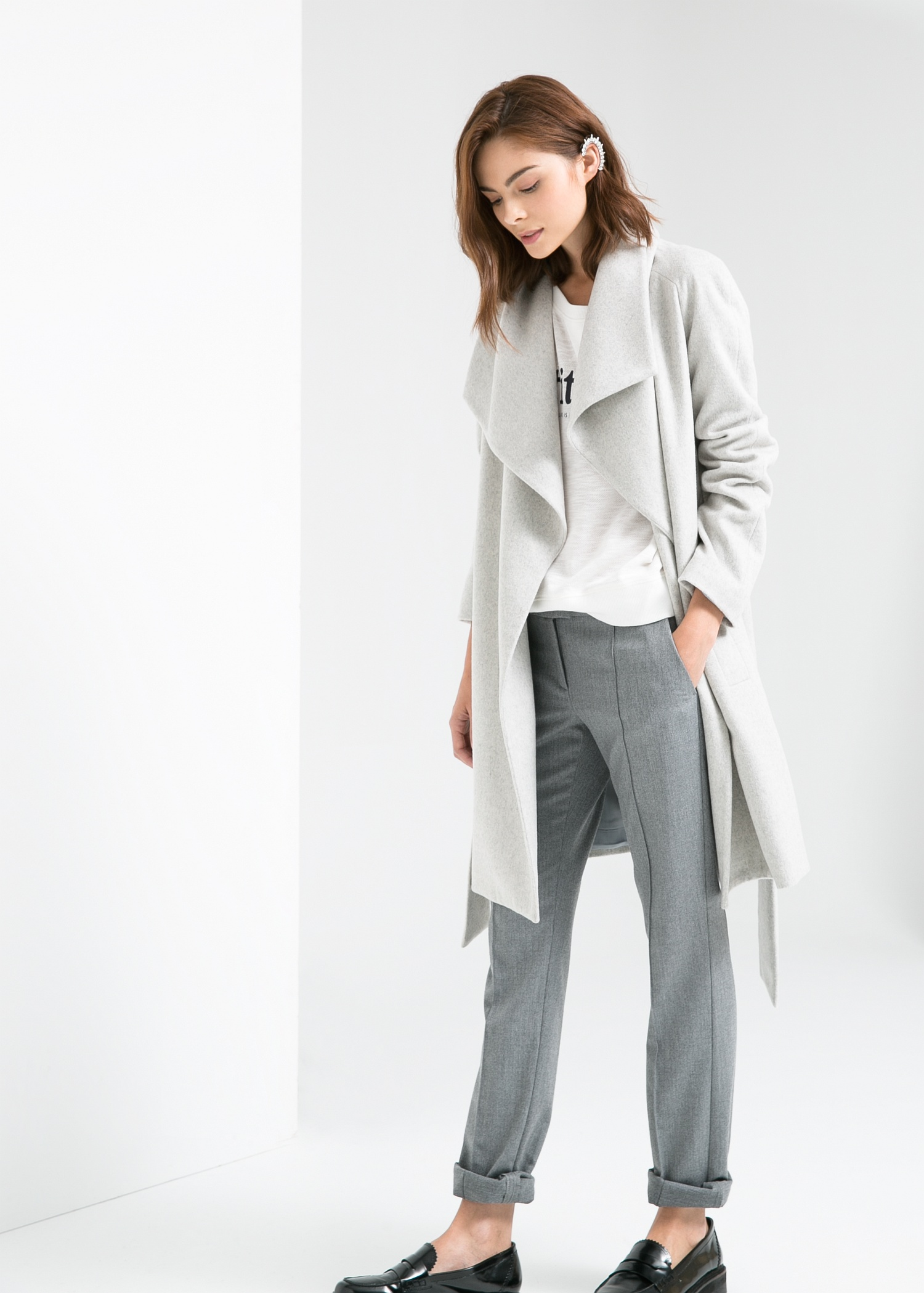 Lapels wool-blend coat - Women | MANGO