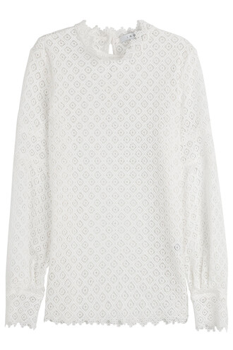 top lace top lace crochet white