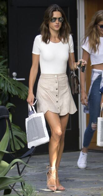 skirt top summer outfits summer top alessandra ambrosio sandals sunglasses streetstyle model off-duty shoes