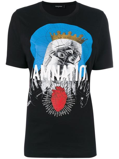 Dsquared2 t-shirt shirt printed t-shirt t-shirt women cotton black top