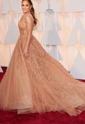 dress,elie saab,formal dress,jennifer lopez,oscars 2015,fashion,sexy dress,nude,peach,peach dress,style