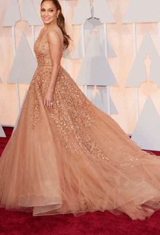 dress elie saab dress elie saab formal dress jennifer lopez oscars 2015 fashion sexy dress nude peach peach dress style
