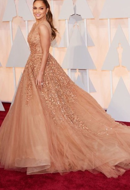 dress elie saab elie saab formal dress jennifer lopez oscars 2015 fashion sexy dress nude peach peach dress style