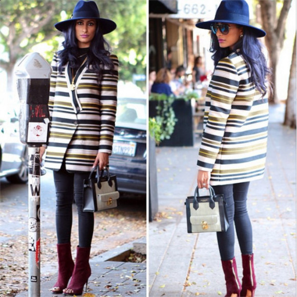 celine jacket fall outfits oversized hat oversized jacket burgundy boots