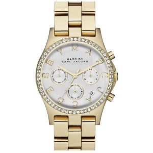 Marc by marc jacobs gold and silver henry chronograph & crystal topring watch
