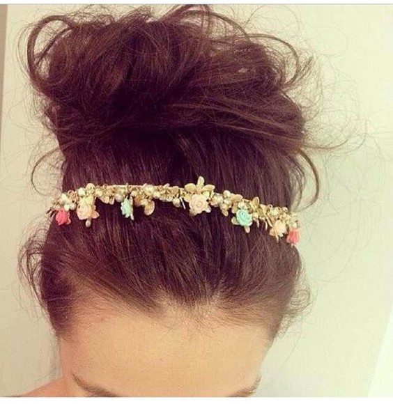 headband jewels flower headband pretty love pink beautiful stunning needtohave wanted pink head jewels celebrity style celebrity gold teal