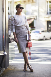 skirt,tumblr,midi skirt,pencil skirt,grey skirt,leather skirt,pumps,pointed toe pumps,high heel pumps,bag,red bag,top,white top,office outfits,sunglasses,midi leather skirt