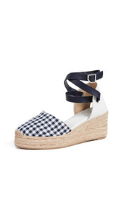 wedges,navy,gingham,shoes