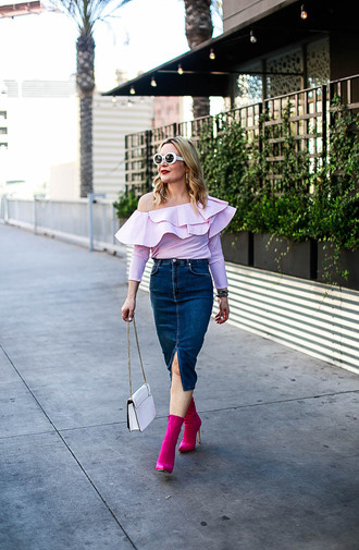 thehuntercollector blogger top skirt shoes bag sunglasses denim skirt ruffled top ankle boots