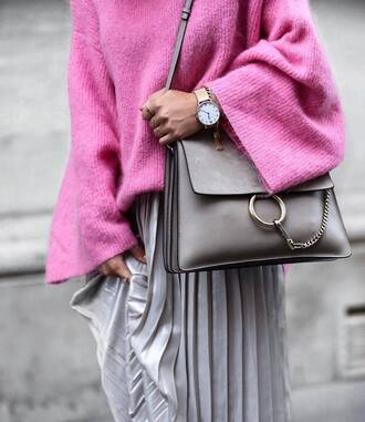bag tumblr grey bag shoulder bag chloe chloe bag designer bag pleated pleated skirt metallic pleated skirt silver skirt metallic skirt sweater pink sweater oversized sweater oversized watch accessories accessory