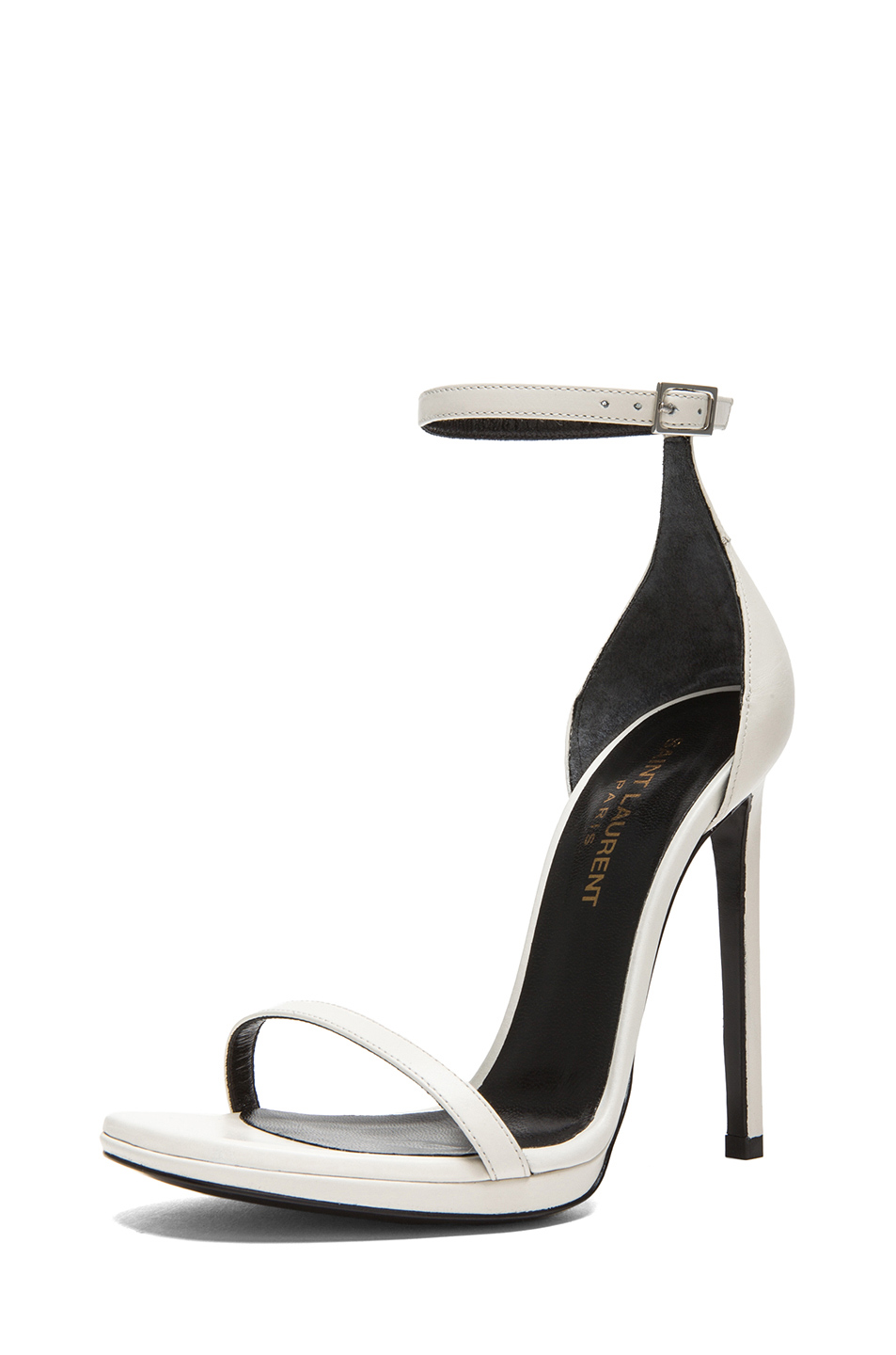 Saint Laurent Jane Leather Ankle Strap Sandals in White