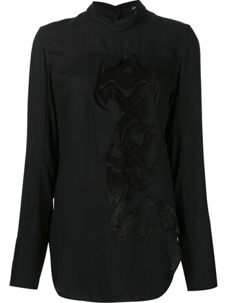 blouse jacquard black top