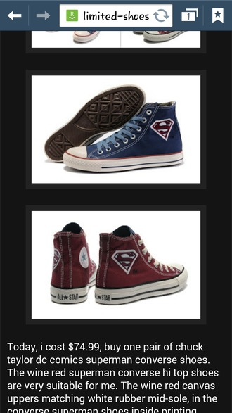 shoes blue red superman converse high tops chuck taylor all stars