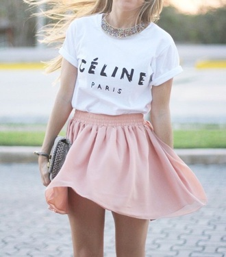 t-shirt style fashion shirt crop tops white t-shirt white top white crop tops white shirt pink skirt skirt celine paris shirt