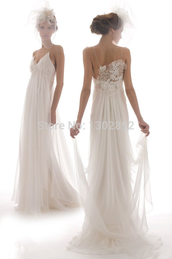 Aliexpress.com : buy 2015 new arrival spaghettis chiffon wedding dresses v neck bridal gown bride dresses custom made from reliable dress shoes for sale suppliers on tideclothes