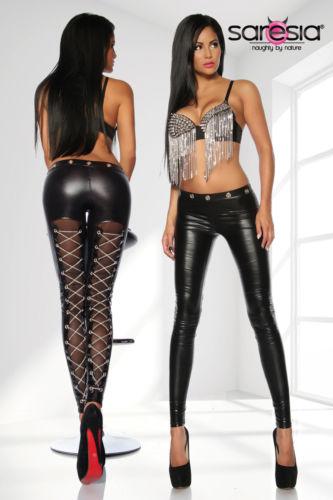 hei e leggings schwarz wetlook optik schn rung aus ketten. Black Bedroom Furniture Sets. Home Design Ideas