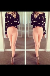 pants,pink,padded,skinny pants,high waisted jeggings,jodphurs,sweater,shoes