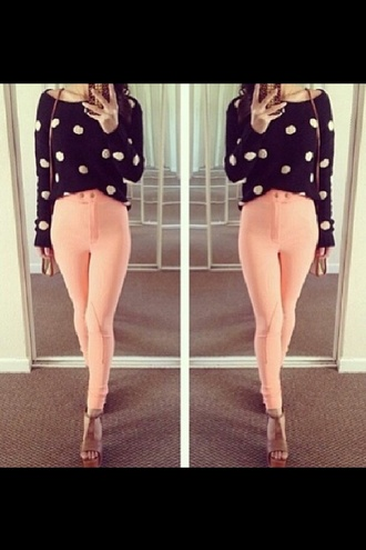 pants pink padded skinny pants high waisted jeggings jodphurs sweater red lime sunday