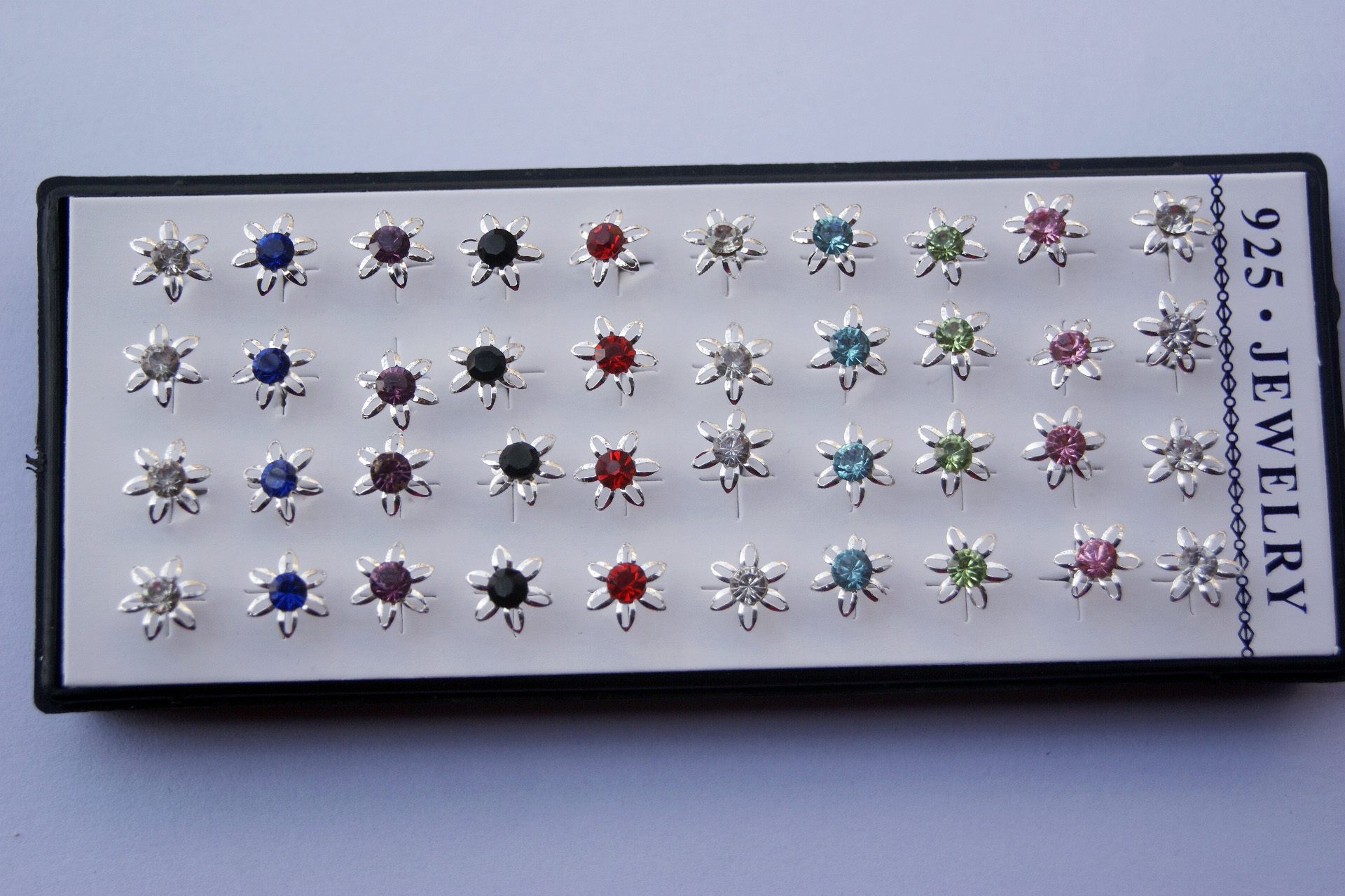 Wholesale lots 20 pairs mixed color flower daisy cz crystal silver stud earrings