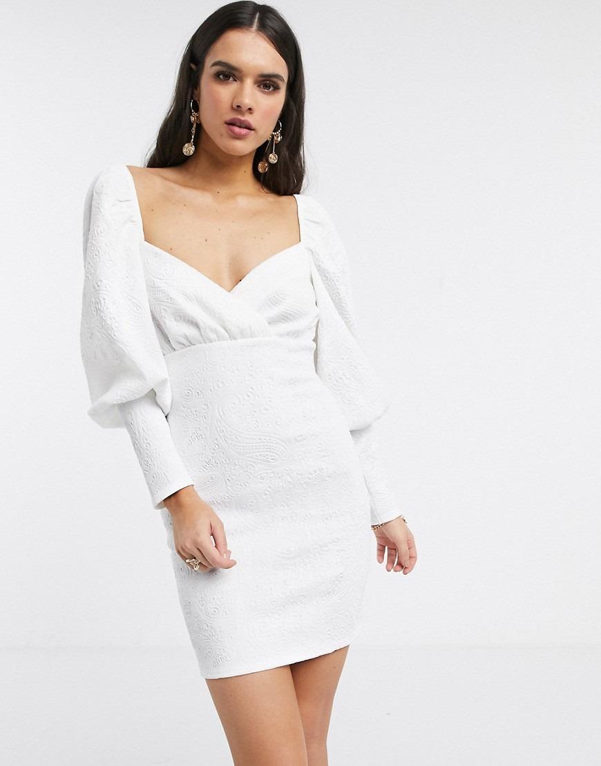 ASOS DESIGN long sleeve puff sleeve embossed scuba mini dress