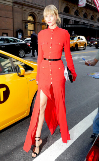 dress celebrity style celebrity maxi dress red dress slit dress belt waist belt sandals sandal heels high heel sandals black sandals karlie kloss clutch long sleeve dress streetstyle