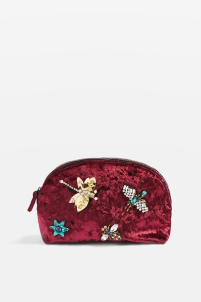 Topshop embellished bag burgundy
