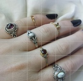 jewels,ring,hippie,jewls,stones,steampunk,black nail polish,boho,silver,copper,jewelry,boho jewelry,bohemian,knuckle ring,rings and tings,silver ring