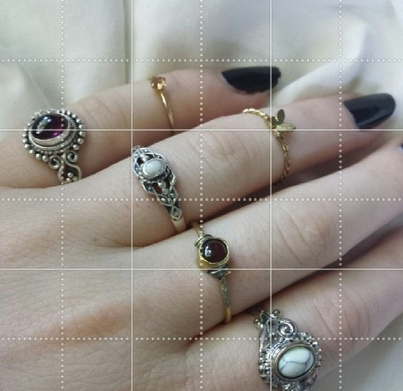 jewels silver ring hippie boho rings jewls stones steam punk black nail polish copper
