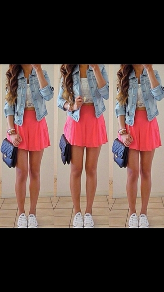top crop tops lace crop top pink skater skirt