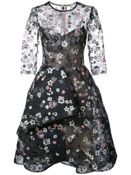 Monique Lhuillier dress embroidered women black silk
