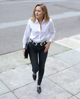 belt jewels the classy cubicle blogger white shirt black jeans black flats clutch double buckle belt black shoes denim jeans shirt black clutch office outfits skinny jeans