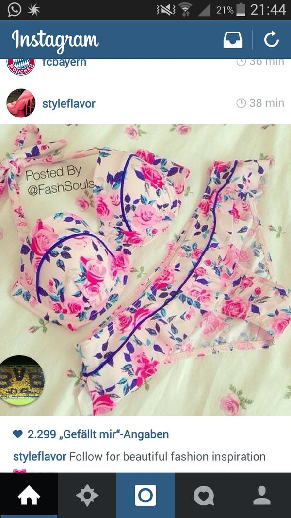 swimwear pink flowers swimwear