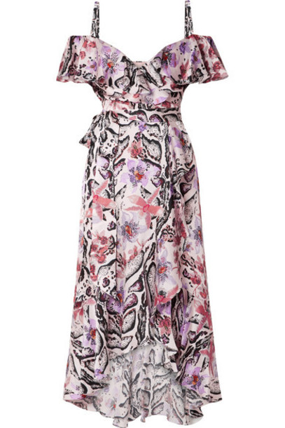Temperley London - Ruffled Printed Hammered Silk-satin Midi Dress - Purple