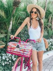 ohsoglam,blogger,jewels,swimwear,shorts,sunglasses,bag,straw hat,one piece swimsuit,denim shorts,summer outfits
