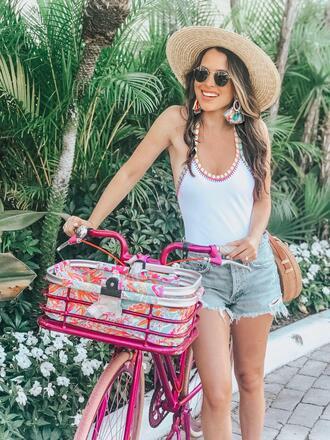 ohsoglam blogger jewels swimwear shorts sunglasses bag straw hat one piece swimsuit denim shorts summer outfits