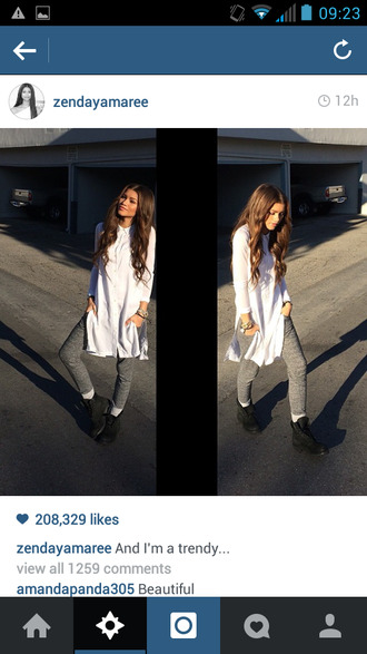 shirt zendaya swag white tee split sides knee length pants shoes red lime sunday