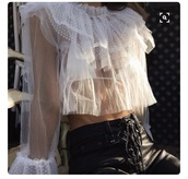 blouse,top,ruffle,white,sheer,sheer blouse,see through top,white ruffles,classy,lace,shirt,black pants,leather pants,white blouse,clear,ruffled top