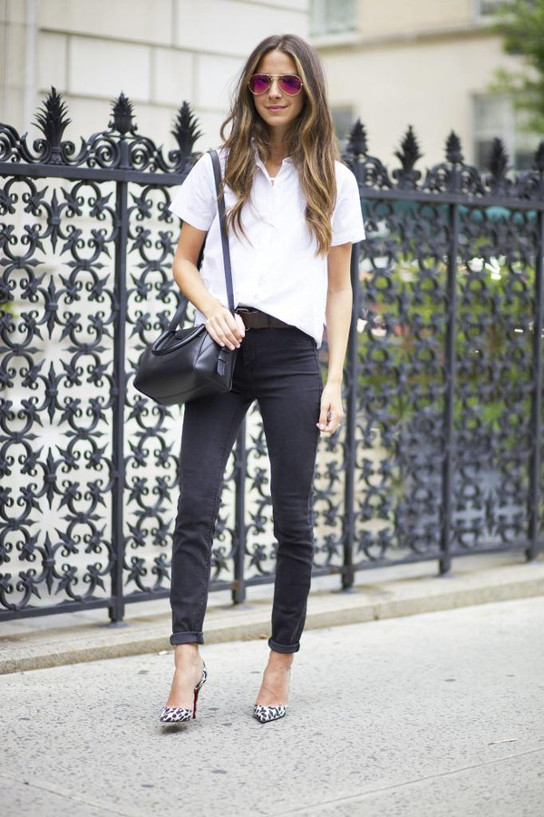 something navy jeans shoes top bag sunglasses