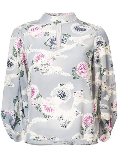 CO kimono blouse women floral print blue silk top