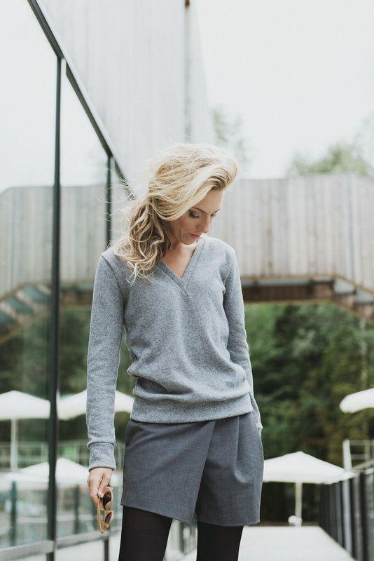 Grey Wool Classy sweater | SPREDFASHION