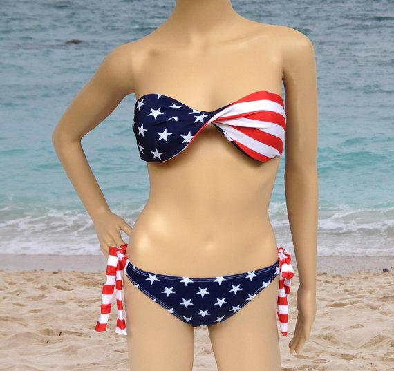 2pc american flag padded bandeau bikini set by jasonfashion