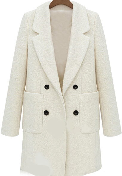 Beige Lapel Long Sleeve Pockets Woolen Coat - Sheinside.com