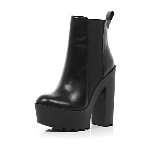 85107d2ce49 Black cleated sole extreme platform boots - ankle boots - shoes / boots -  women