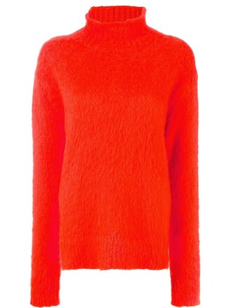 jumper high women high neck mohair yellow orange sweater
