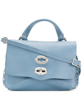 women baby leather blue bag